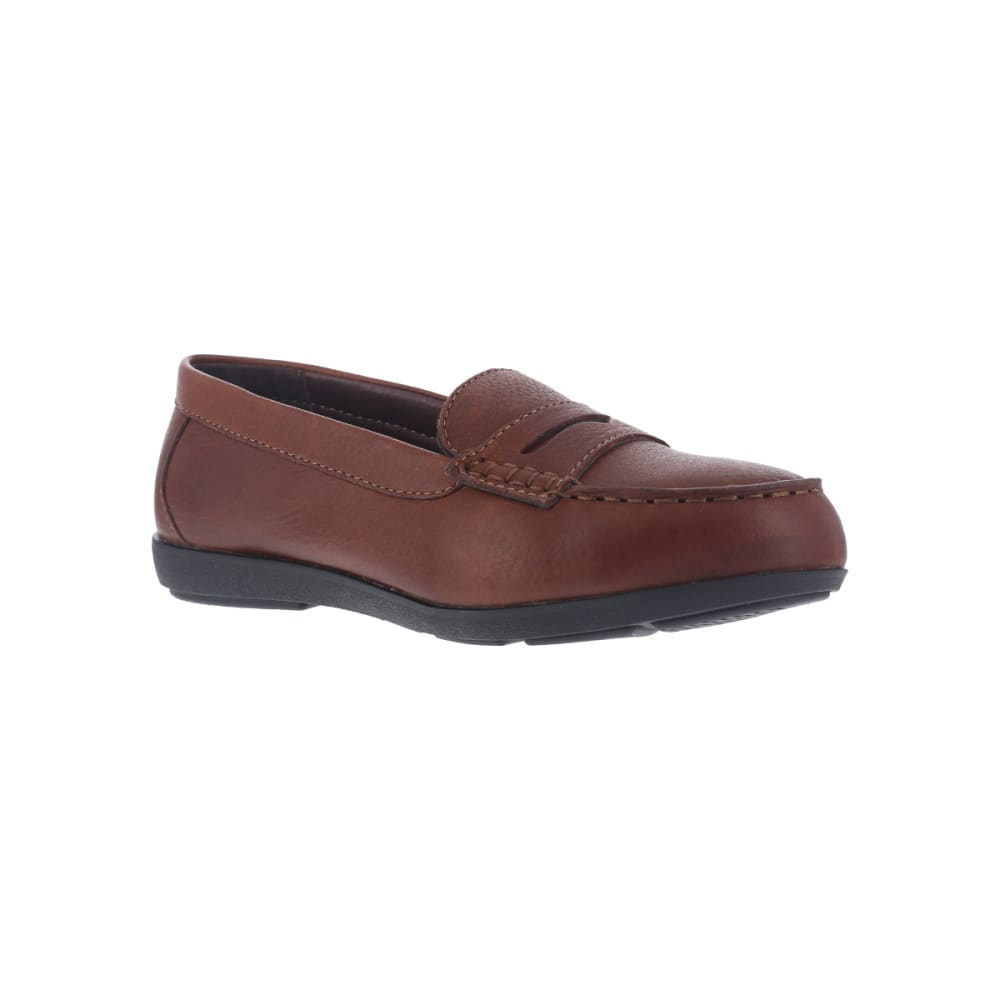 ROCKPORT WORKS Women's Top ShoreSteel Toe Penny Loafer Shoes, Brown, Wide - BROWN