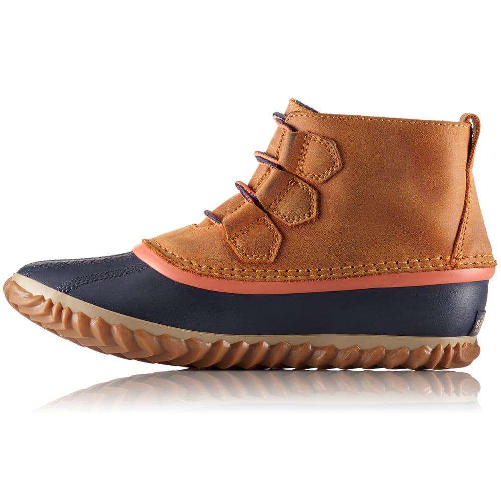 SOREL Women's 5 in. Out N About™ Leather Waterproof Duck Boots, Caramel - CARAMEL