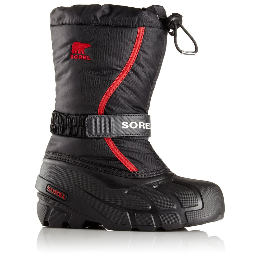 SOREL Boys' Flurry Waterproof Winter Boots, Black/Bright Red - BLACK-015