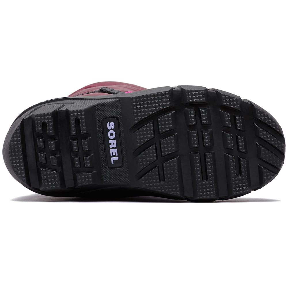 SOREL Boys' Flurry Waterproof Winter Boots, Black/Bright Red - PURPLE DAHLIA-562