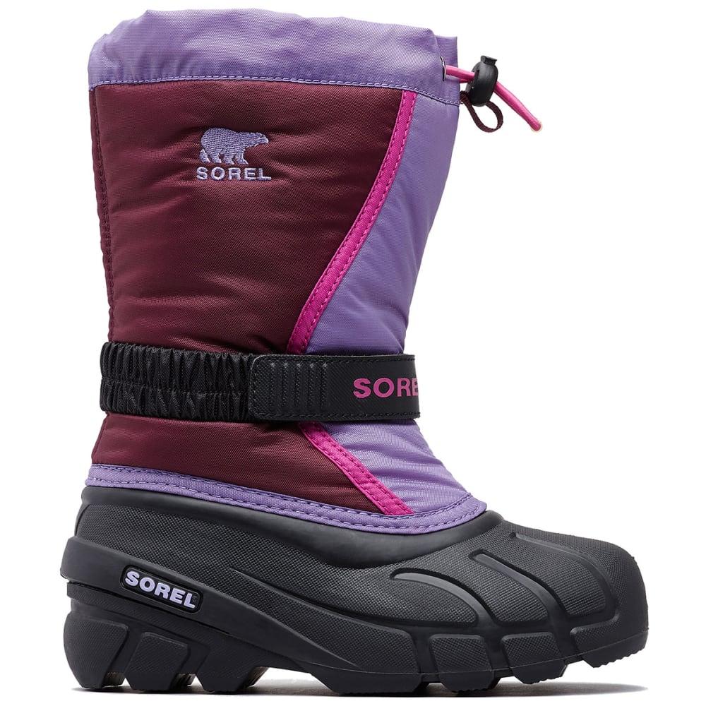 SOREL Boys' Flurry Waterproof Winter Boots, Black/Bright Red 5