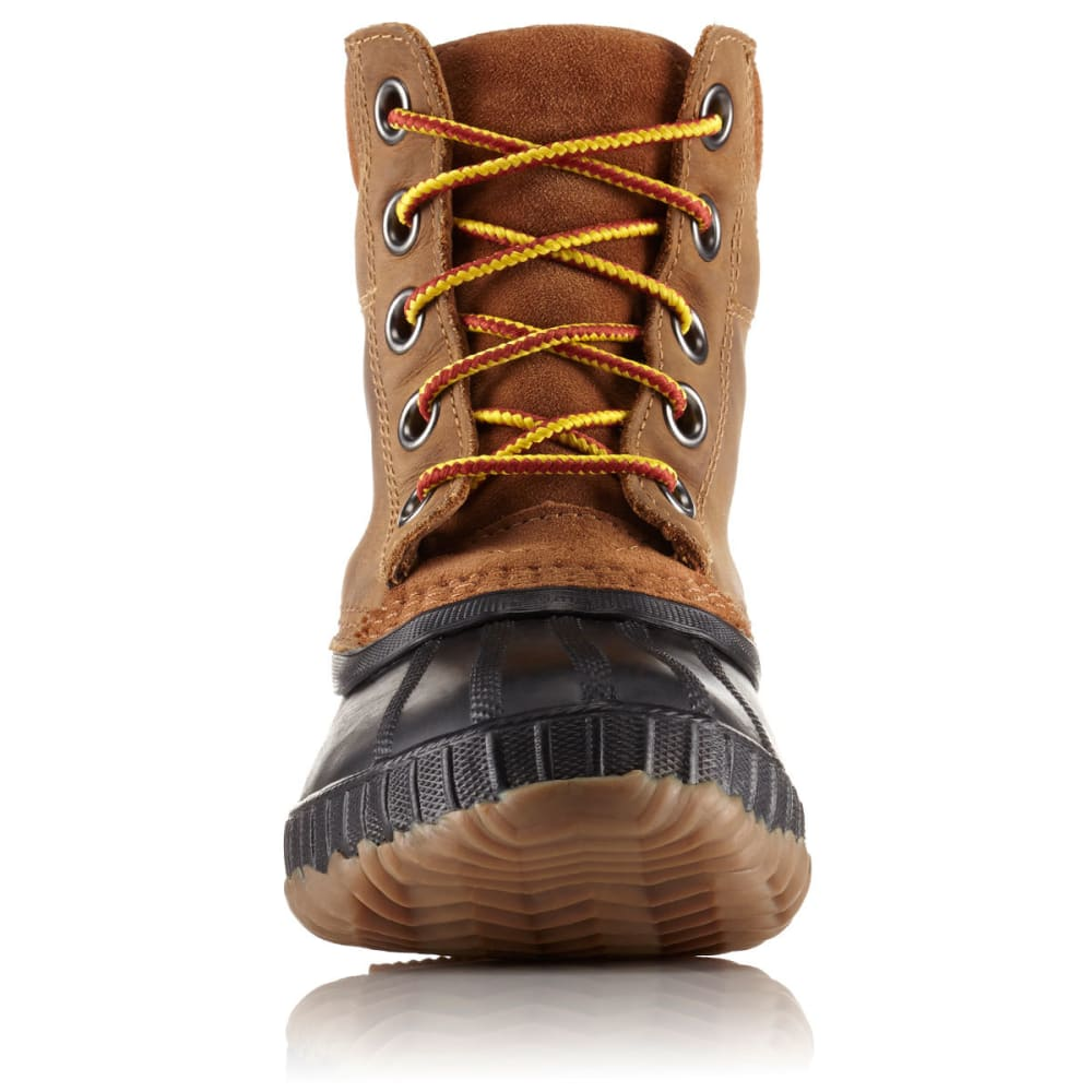SOREL Boys' Cheyanne II Lace Waterproof Duck Boots, Black/Elk - BROWN