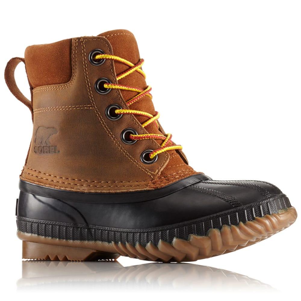 SOREL Boys' Cheyanne II Lace Waterproof Duck Boots, Black/Elk 4