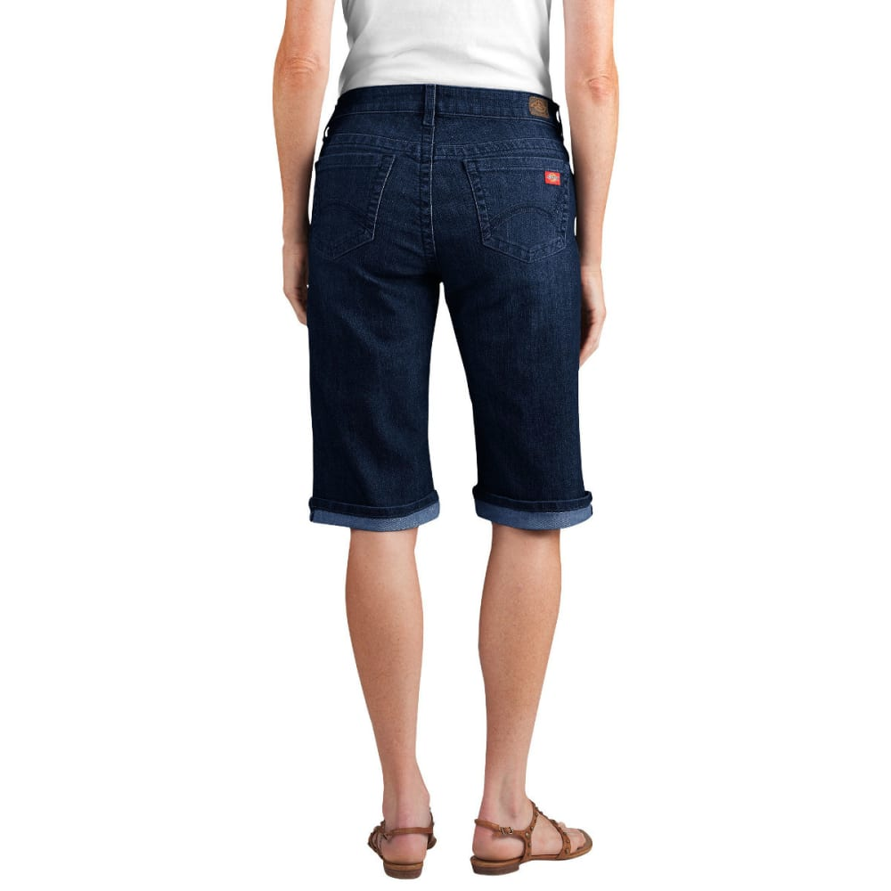 "DICKIES Women's Slim Fit 13"" Stretch Denim 5-Pocket Short, Extended Sizes - DK STONE WASH-DSW"