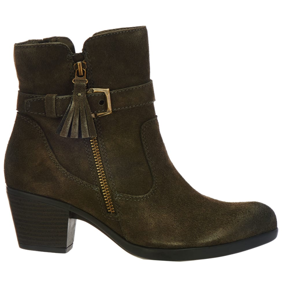 EARTH ORIGINS Women's Tori Suede Booties, Dusty Olive - DUSTY OLIVE