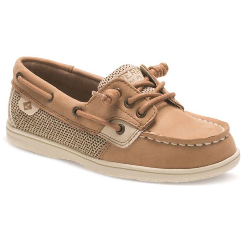 SPERRY Girls' Shoresider 3-Eye Boat Shoes, Linen Oat 1