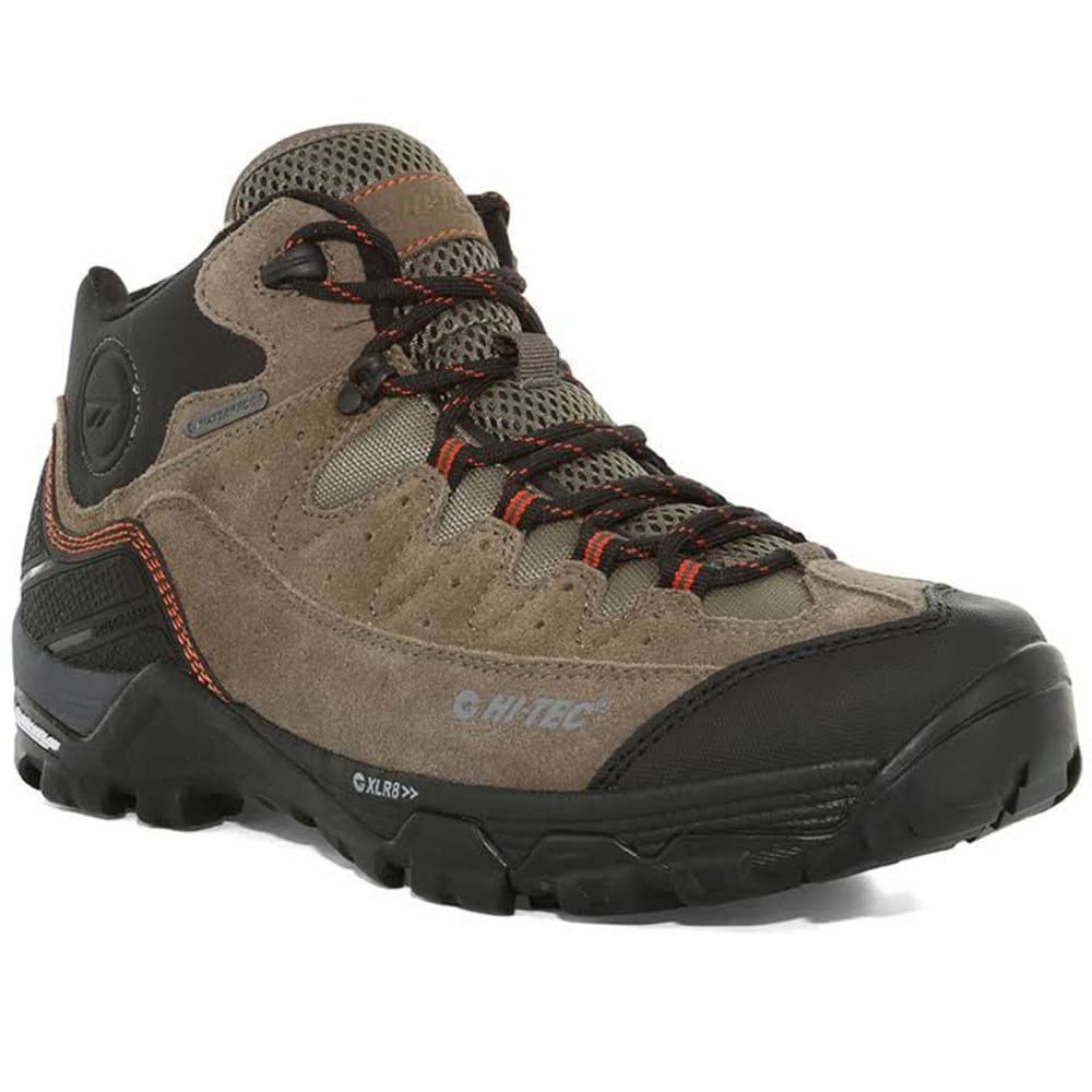 Hi-TEC Men's Ox Belmont Waterproof Mid Hiking Boots - D TAUPE/W GREY/R RED