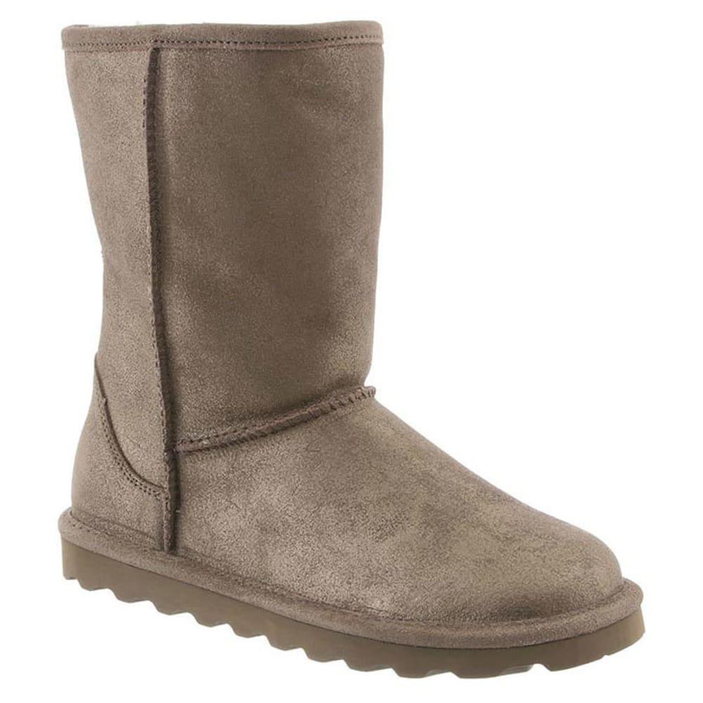 BEARPAW Women's Elle Short Boots, Distressed Metallic Pewter 6