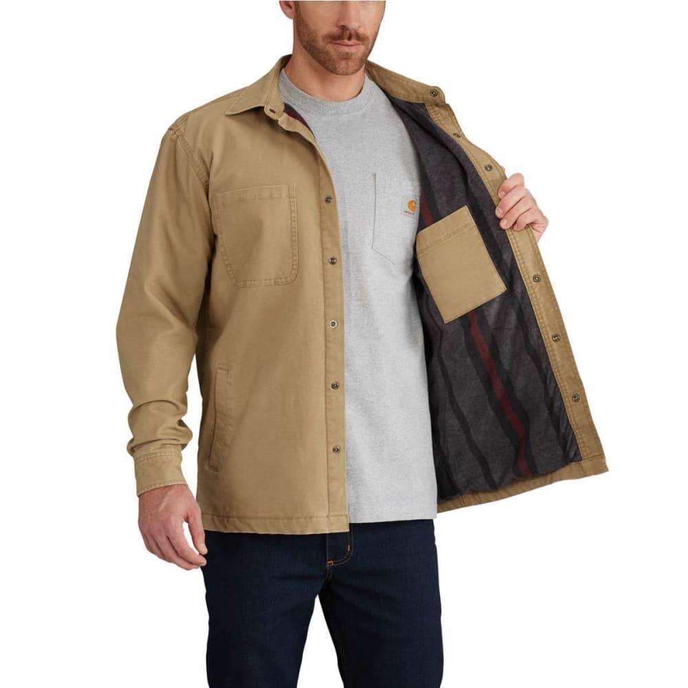 CARHARTT Men's Rugged Flex Rigby Fleece-Lined Shirt Jacket - 253 DARK KHAKI