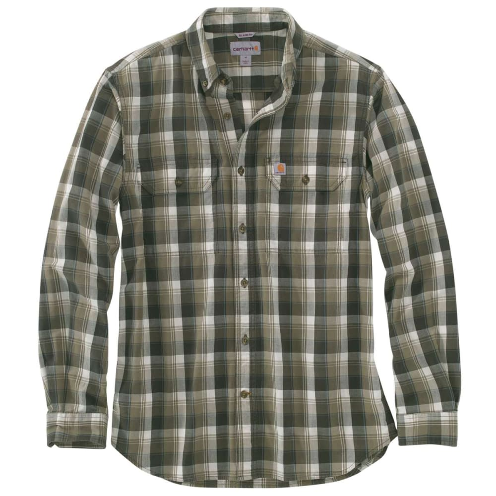 CARHARTT Men's Fort Plaid Long-Sleeve Shirt - 391 BURNT OLIVE