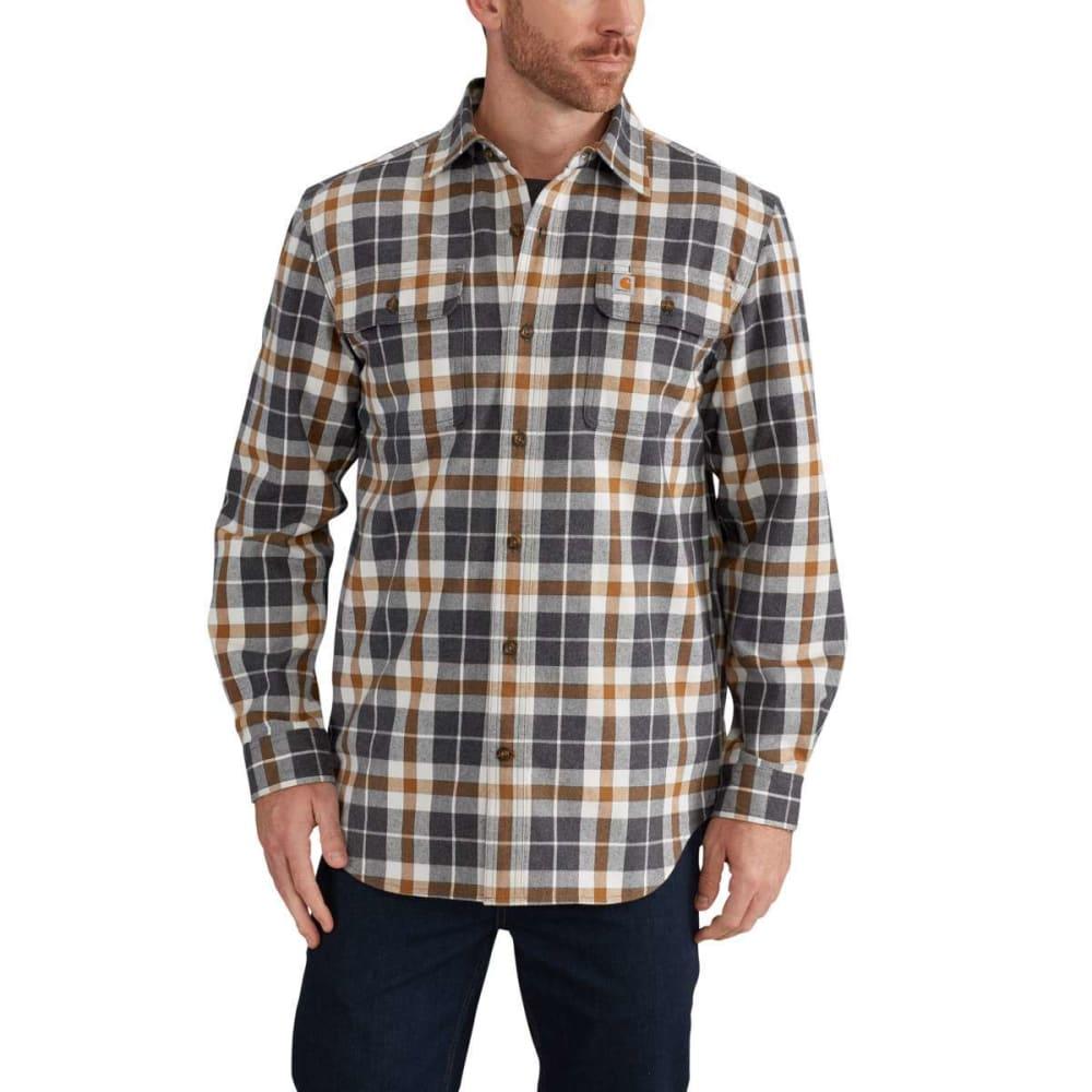 CARHARTT Men's Hubbard Plaid Flannel Shirt - 066 ASPHALT