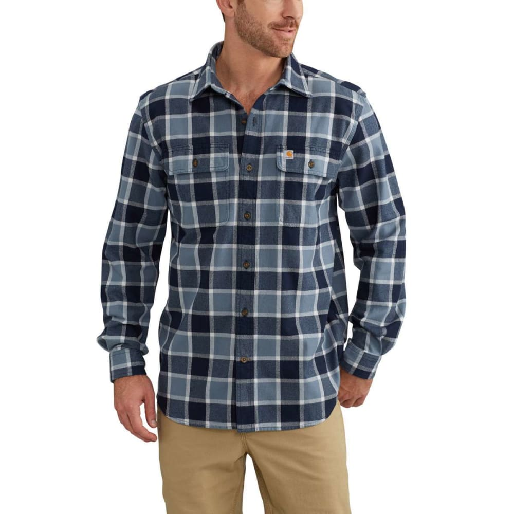 CARHARTT Men's Hubbard Plaid Flannel Shirt - 437 STEEL BLUE