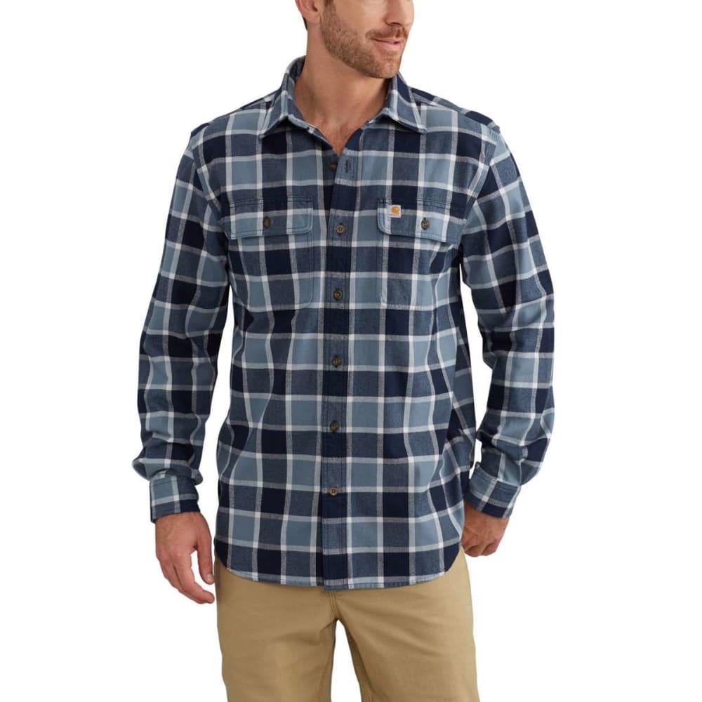 CARHARTT Men's Hubbard Plaid Flannel Shirt - 437 STEEL BLUE