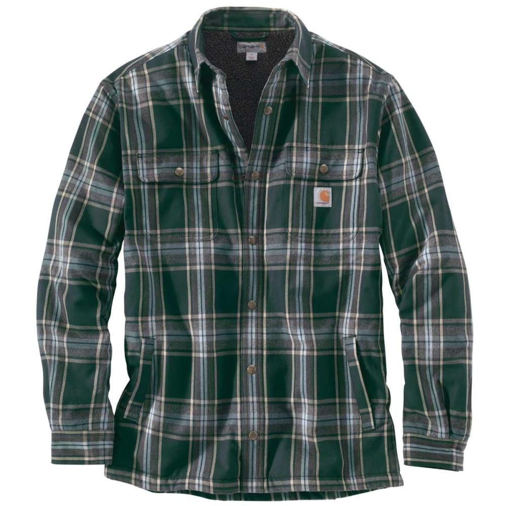 CARHARTT Men's Hubbard Sherpa-Lined Flannel Shirt Jacket - 365 CANOPY GREEN PLD