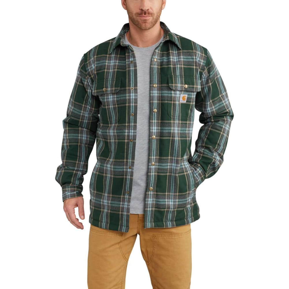 CARHARTT Men's Hubbard Sherpa-Lined Flannel Shirt Jacket - 365 CANOPY GREEN PLD