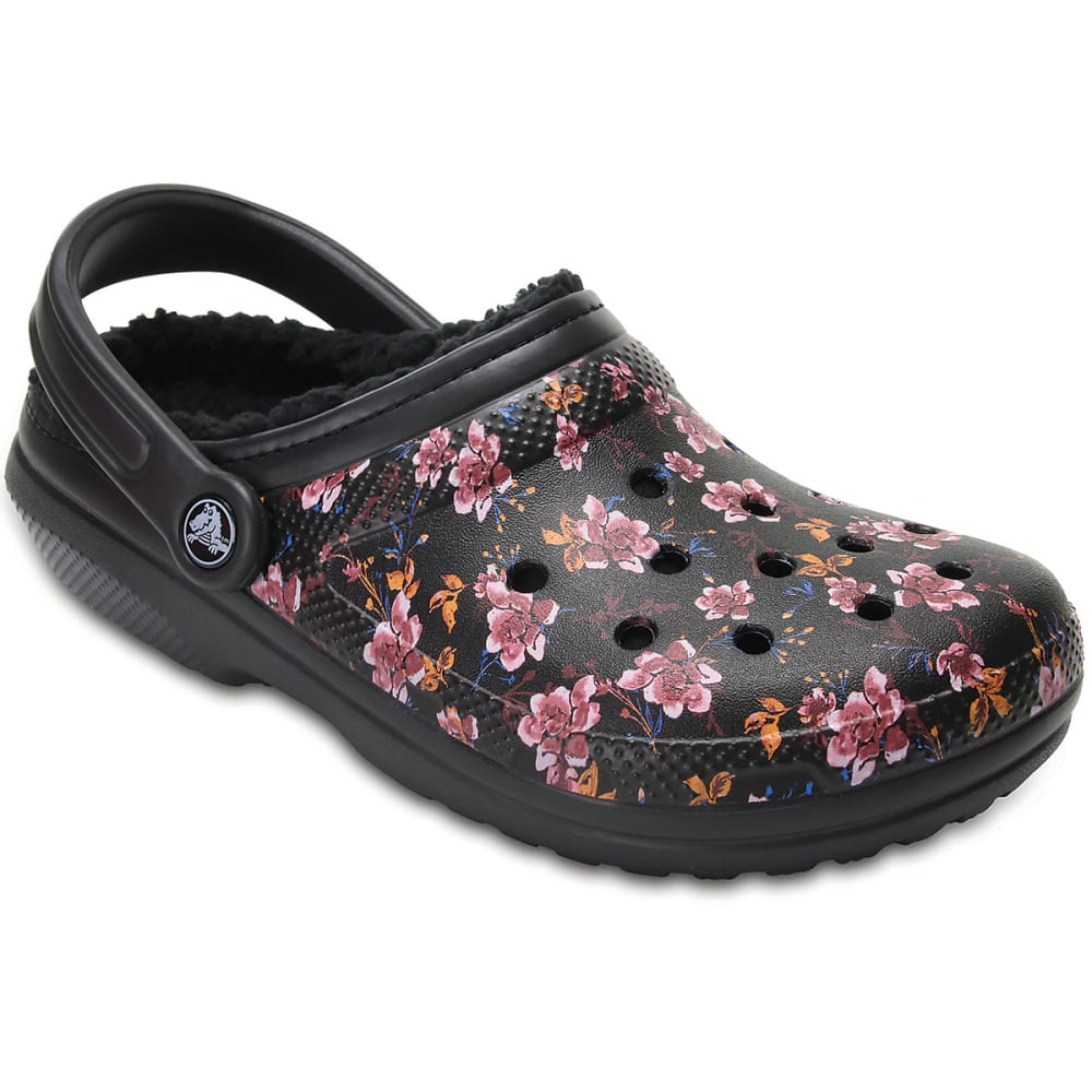 CROCS Women's Classic Fuzz Lined Graphic Clogs, Black Floral - BLACK