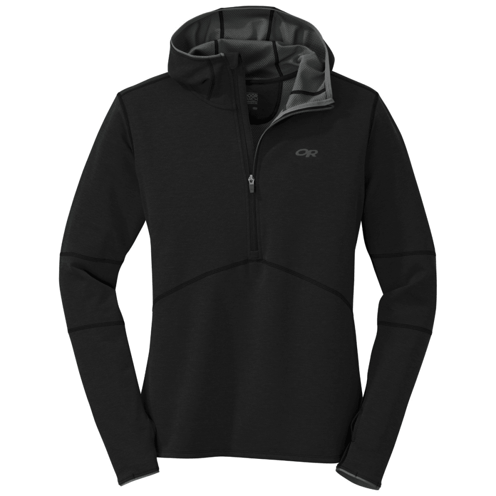 OUTDOOR RESEARCH Men's Shiftup Half Zip Hoody - BLACK/CHARCOAL