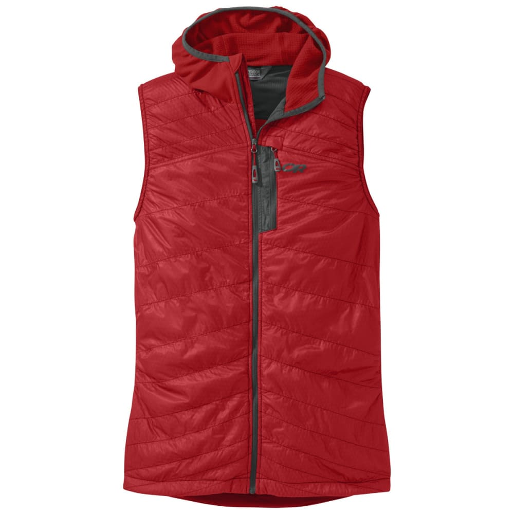 OUTDOOR RESEARCH Men's Deviator Hooded Vest - HOT SAUCE/CHARCOAL