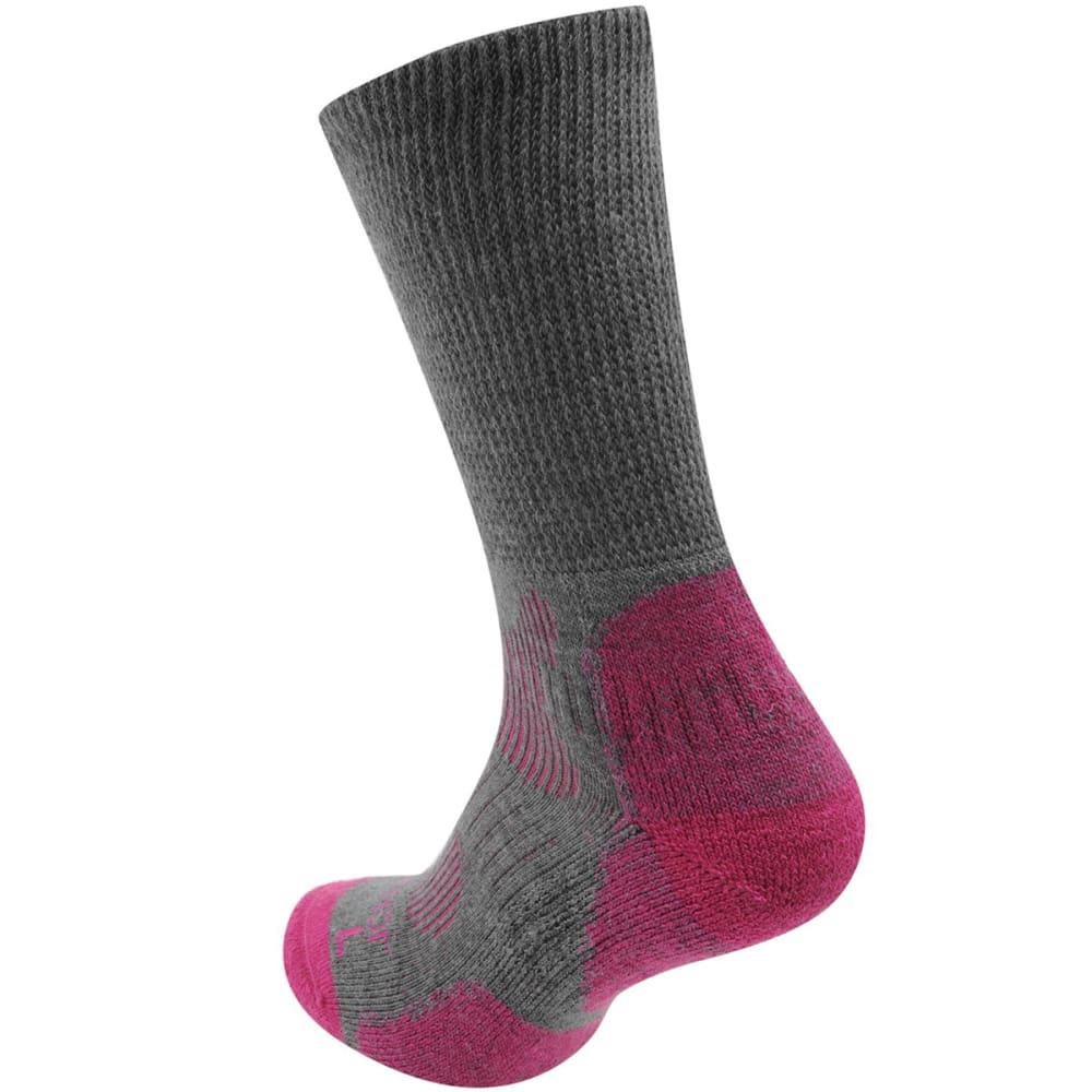 KARRIMOR Women's Merino Fiber Lightweight Hiking Socks - GREY/FUCHSIA