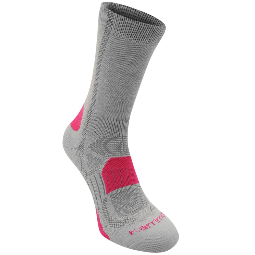 KARRIMOR Women's Hiking Socks, 2 Pack - LT GRY/FUCSHIA