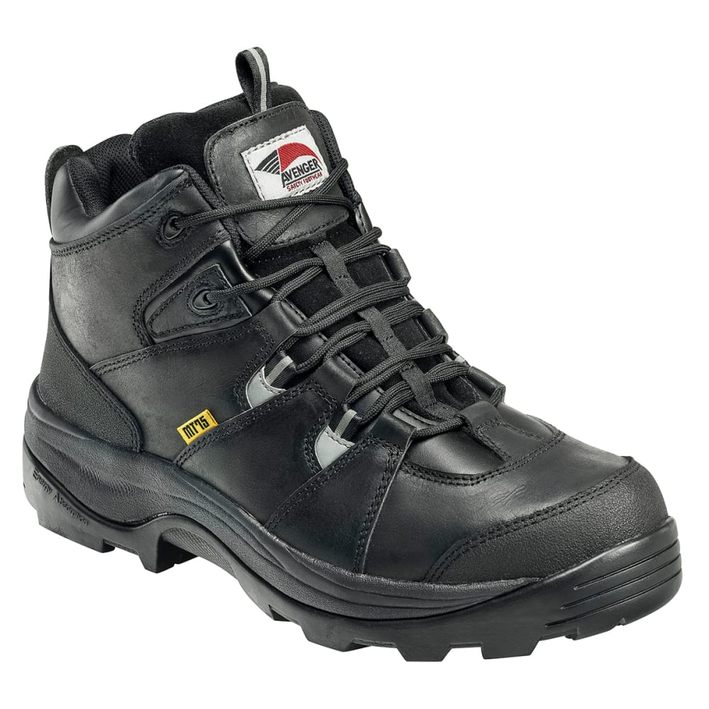 AVENGER Men's 7313 Leather Steel Safety Toe Work Boots, Black, Wide - BLACK