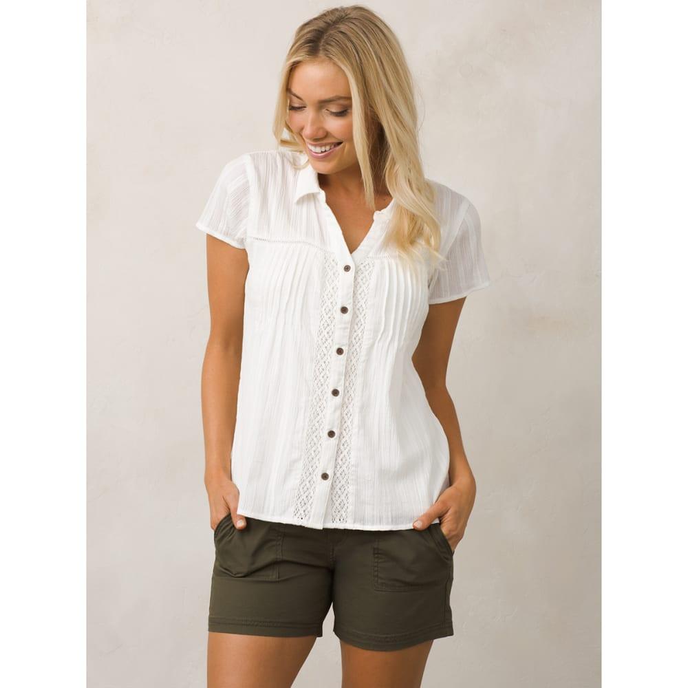 PRANA Women's Katya Short-Sleeve Shirt - WHT-WHITE