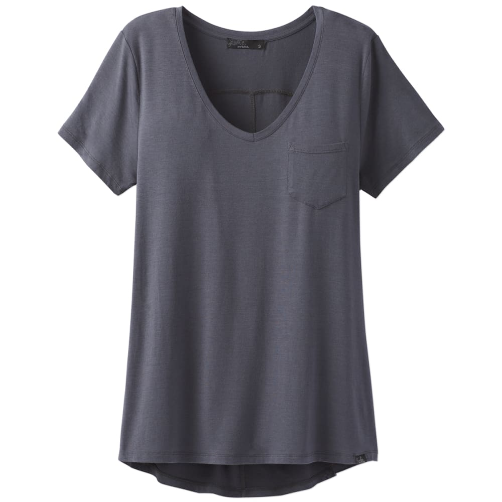 Prana Womens Foundation V-Neck Short-Sleeve Tee - Blue - Size L W11170142