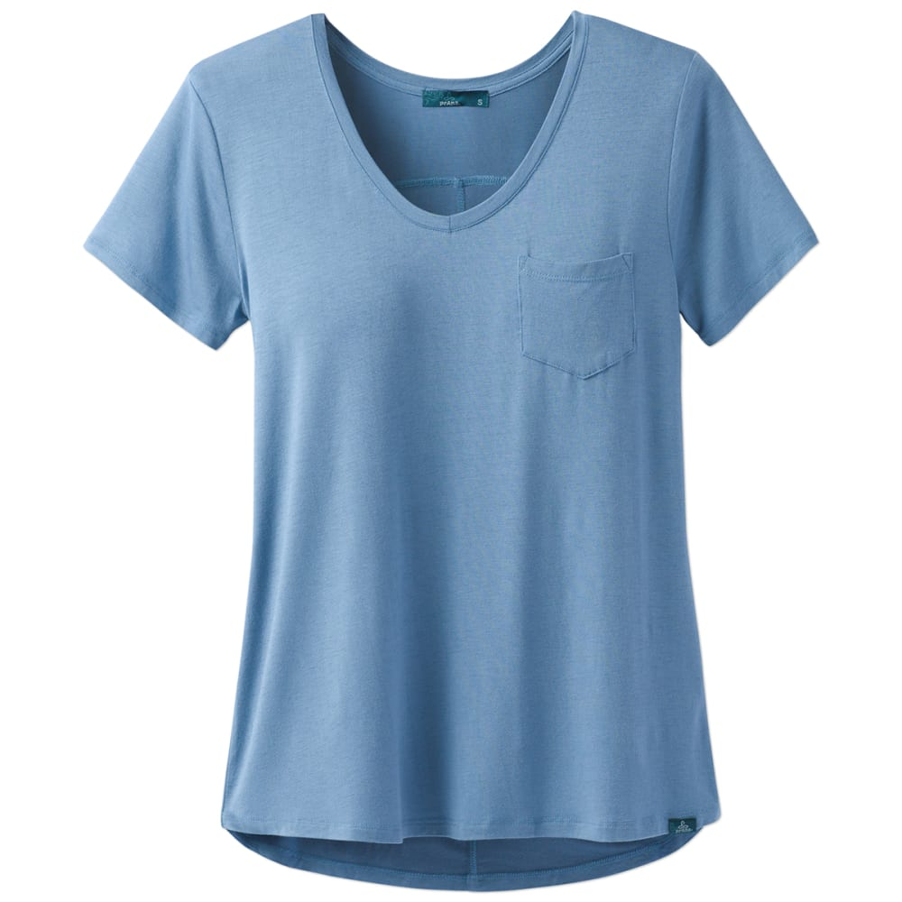 Prana Women's Foundation V-Neck Short-Sleeve Tee - Blue - Size L W11170142