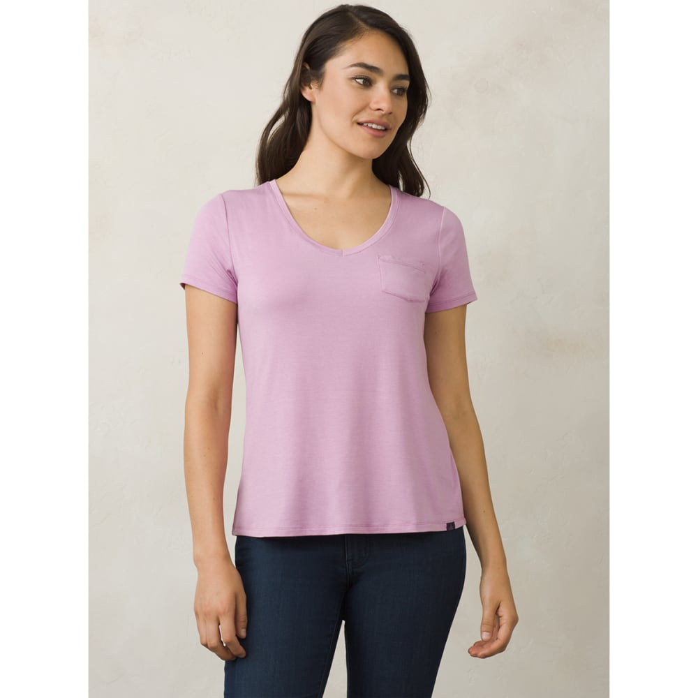 PRANA Women's Foundation V-Neck Short-Sleeve Tee - WIOH-WILD ORCHID