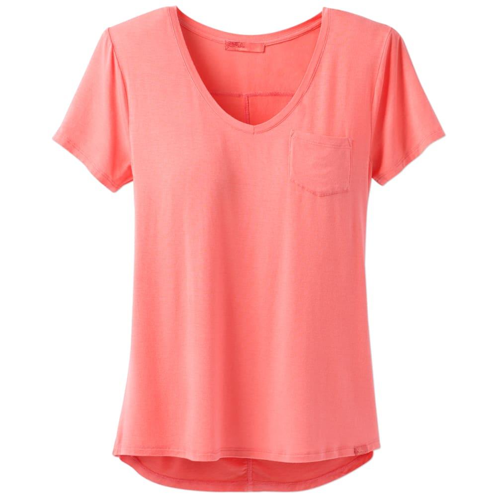 PRANA Women's Foundation V-Neck Short-Sleeve Tee - SUPH-SUMMER PEACH