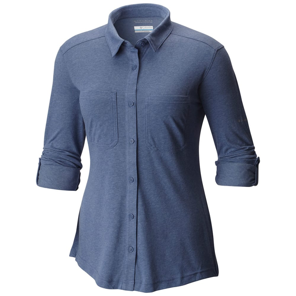 COLUMBIA Women's Saturday Trail Knit Long-Sleeve Shirt - 508-BLUEBELL HEATHER