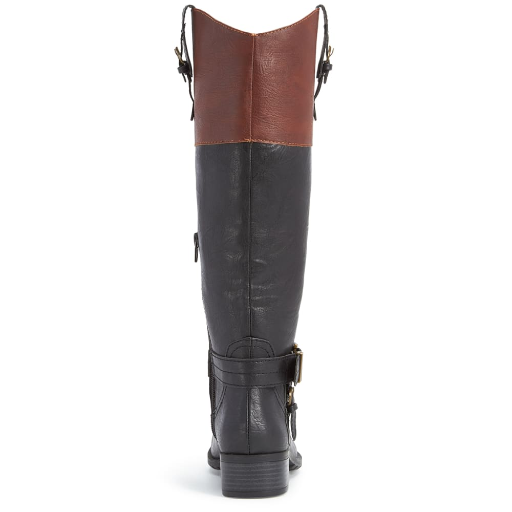 RAMPAGE Women's Ivelia Riding Boots, Black/Cognac - BLACK/COGNAC