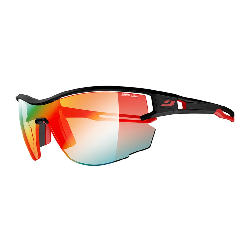 JULBO Aero Sunglasses with Zebra Light Fire, Black/Red - BLACK