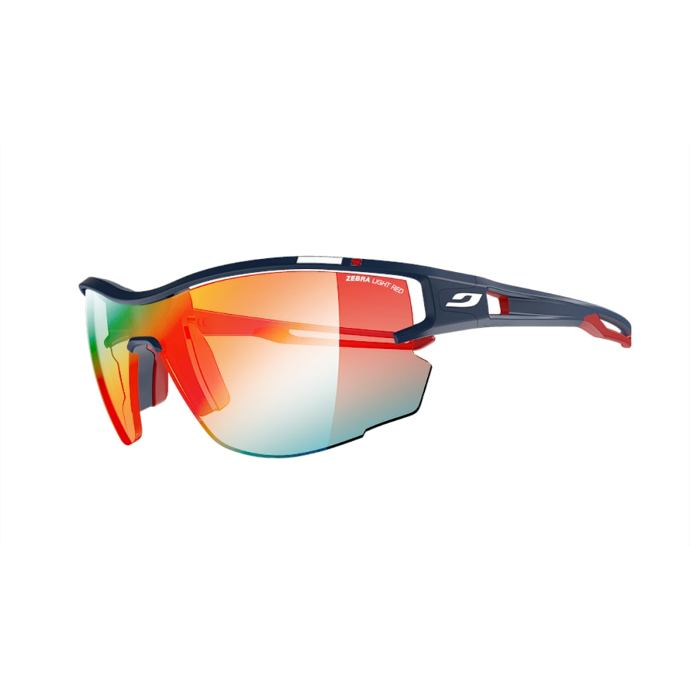 JULBO Aero PRO Sunglasses with Zebra Light Red, Blue/White/Red - MF BLUE/RED