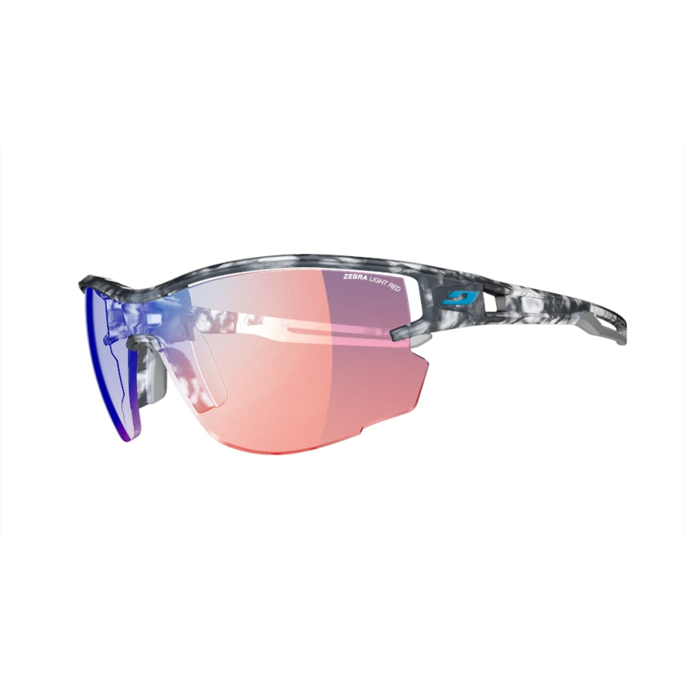 JULBO Aero Sunglasses with Zebra Light Red, Tortoiseshell Gray - GREY TORT/BLUE