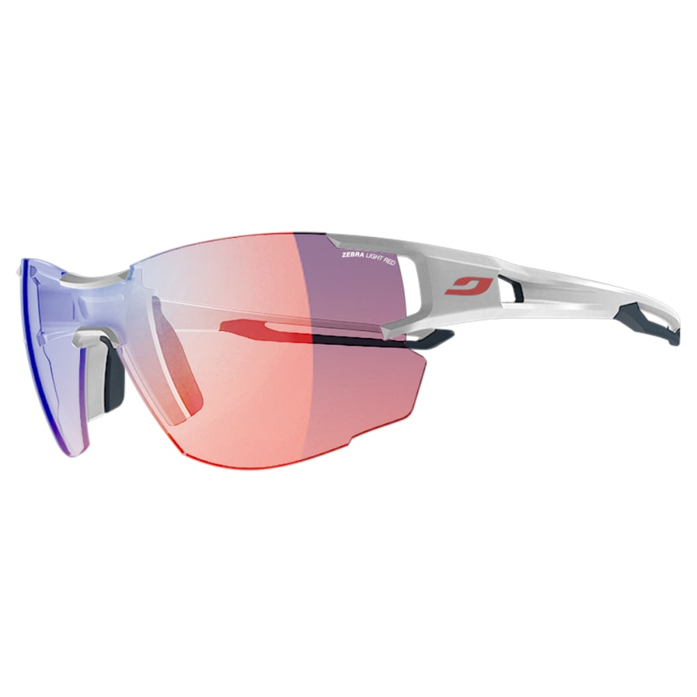 JULBO Aerolite Sunglasses with Zebra Light Red, White/Grey - WHITE/BLU-GRY