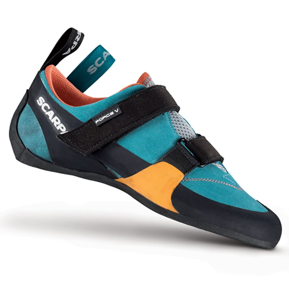 SCARPA Women's Force V Climbing Shoes, Ice Fall/Mandarin Red - ICEFALL.MANDARIN RED