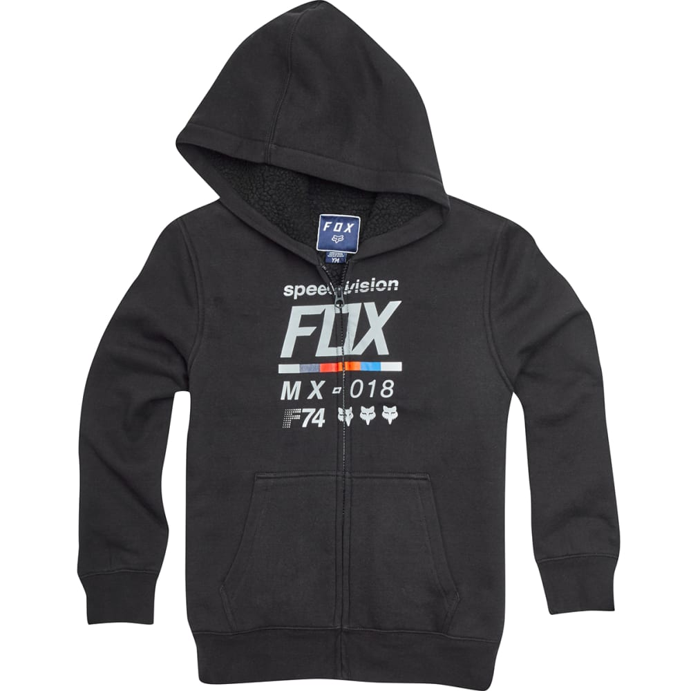 FOX RACING Big Boys' Draftr Sherpa Full-Zip Hoodie - BLACK-001
