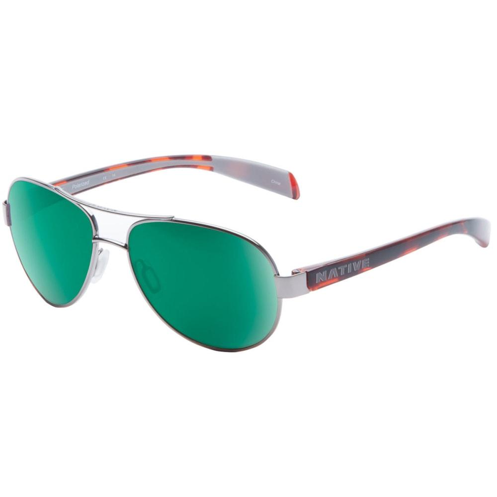 NATIVE EYEWEAR Haskill Sunglasses, Maple Tort/Green Reflex - CHROME/MAPLE TORT