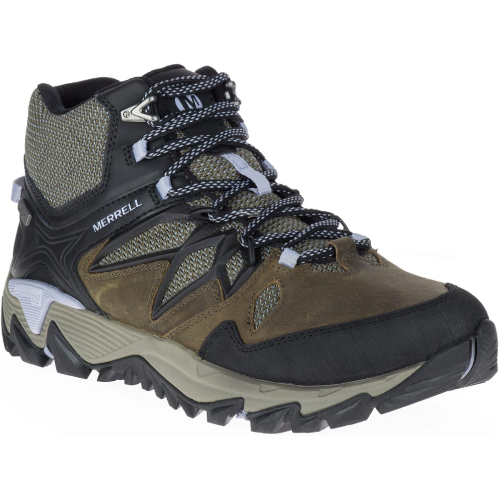 MERRELL Women's All Out Blaze 2 Mid Waterproof Hiking Boots, Dark Olive - DARK OLIVE