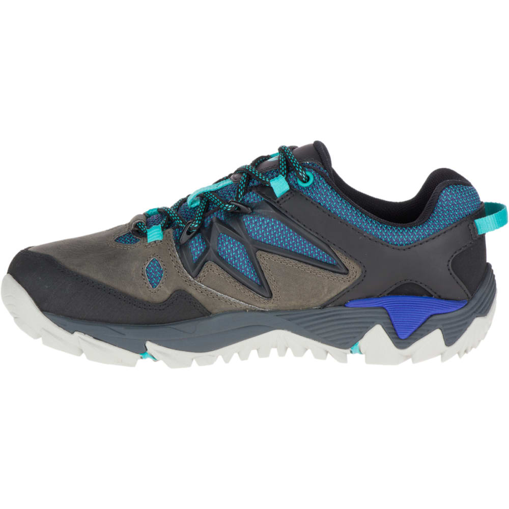 MERRELL Women's All Out Blaze 2 Waterproof Hiking Shoes, Pewter/Mazarine Blue - PEWTER/BLUE