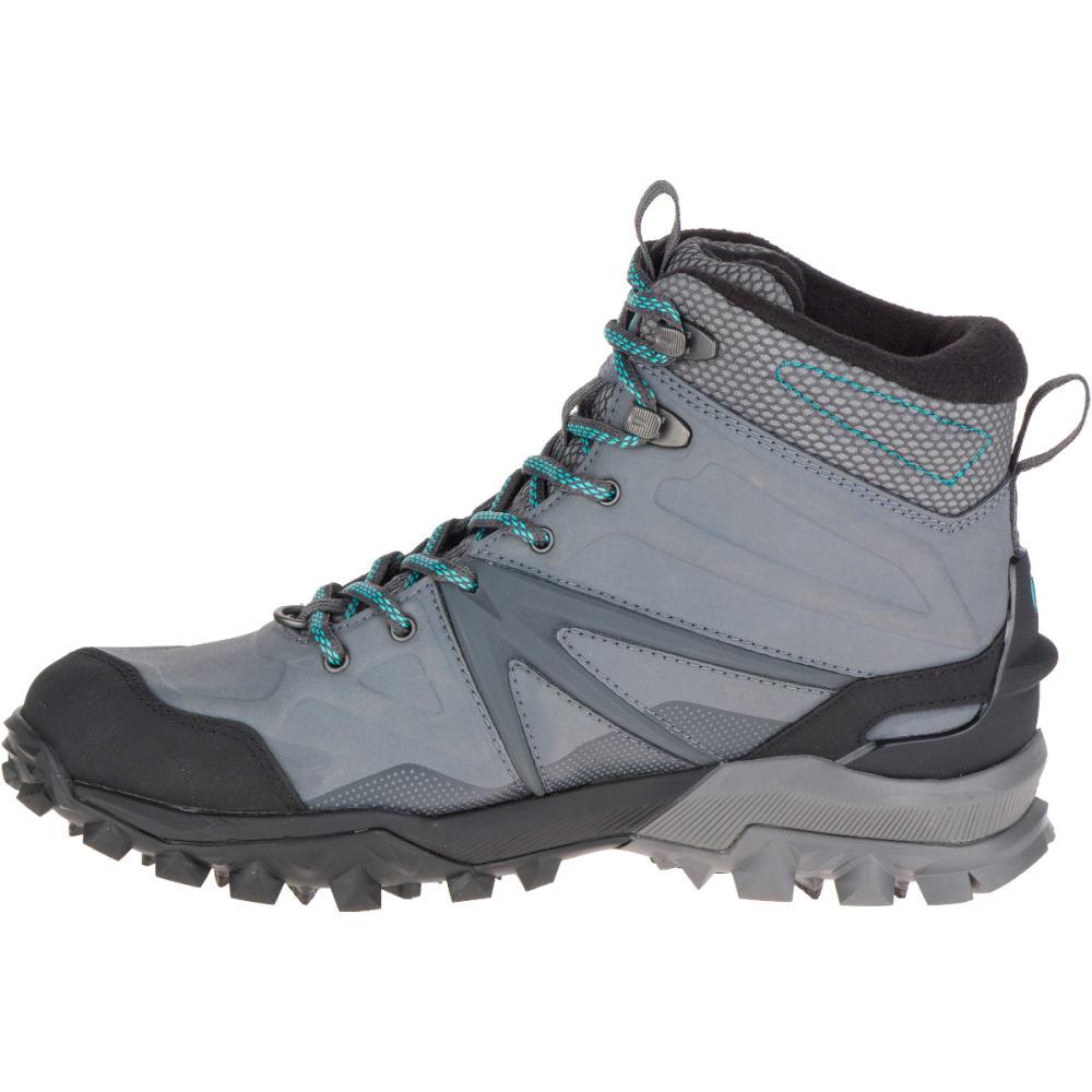 MERRELL Women's Capra Glacial Ice+ Mid Waterproof Boots, Charcoal Grey - CHARCOAL GREY