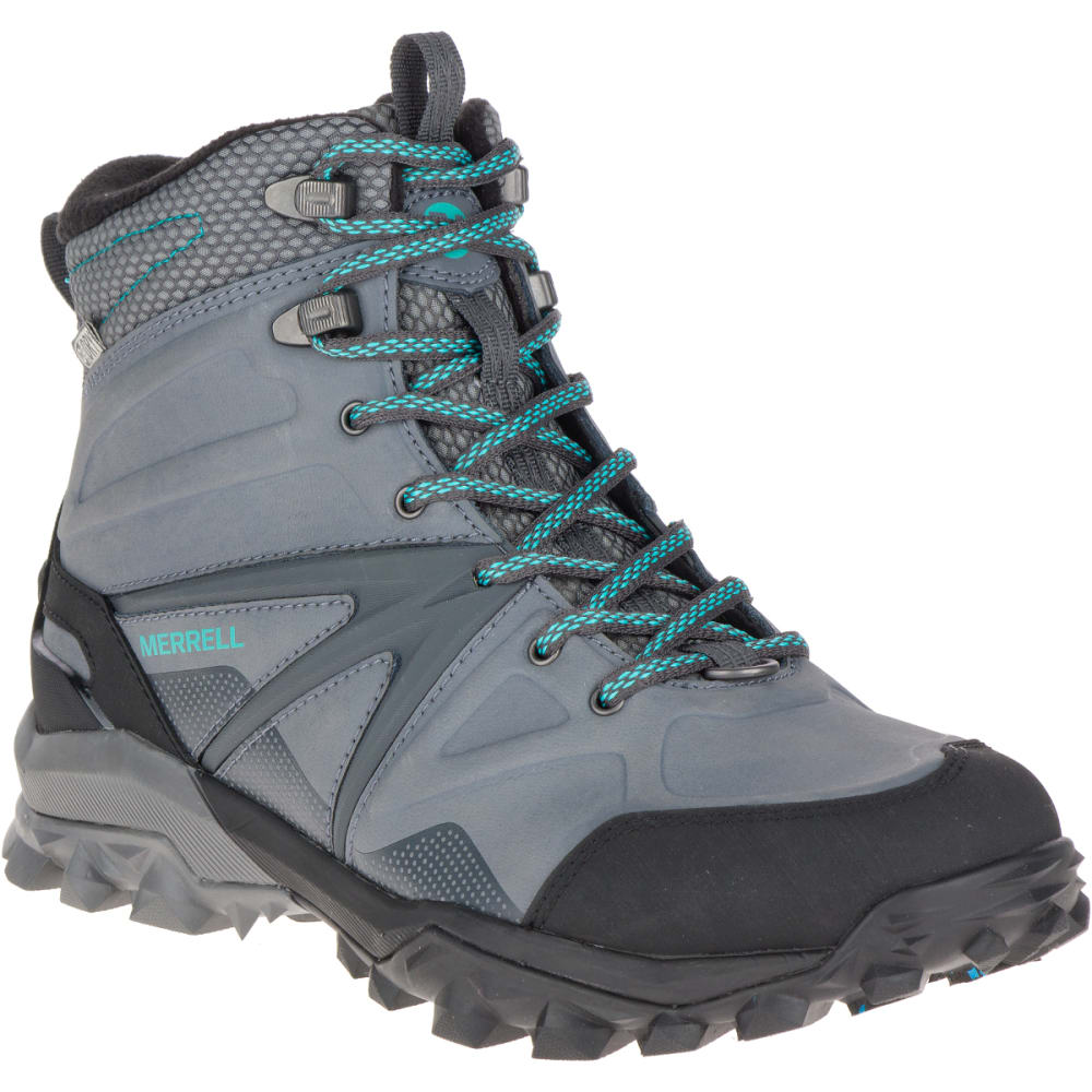 MERRELL Women's Capra Glacial Ice+ Mid Waterproof Boots, Charcoal Grey - CHARCOAL GREY