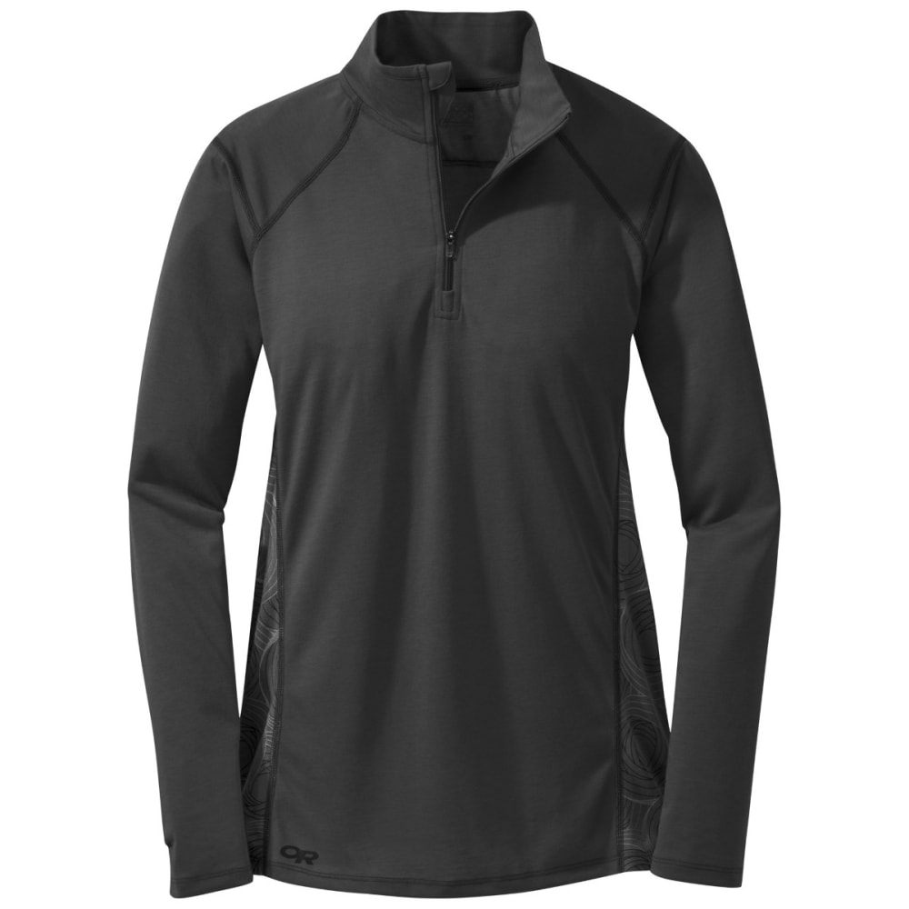 OUTDOOR RESEARCH Women's Essence Long Sleeve Zip Top - BLACK/PEWTER