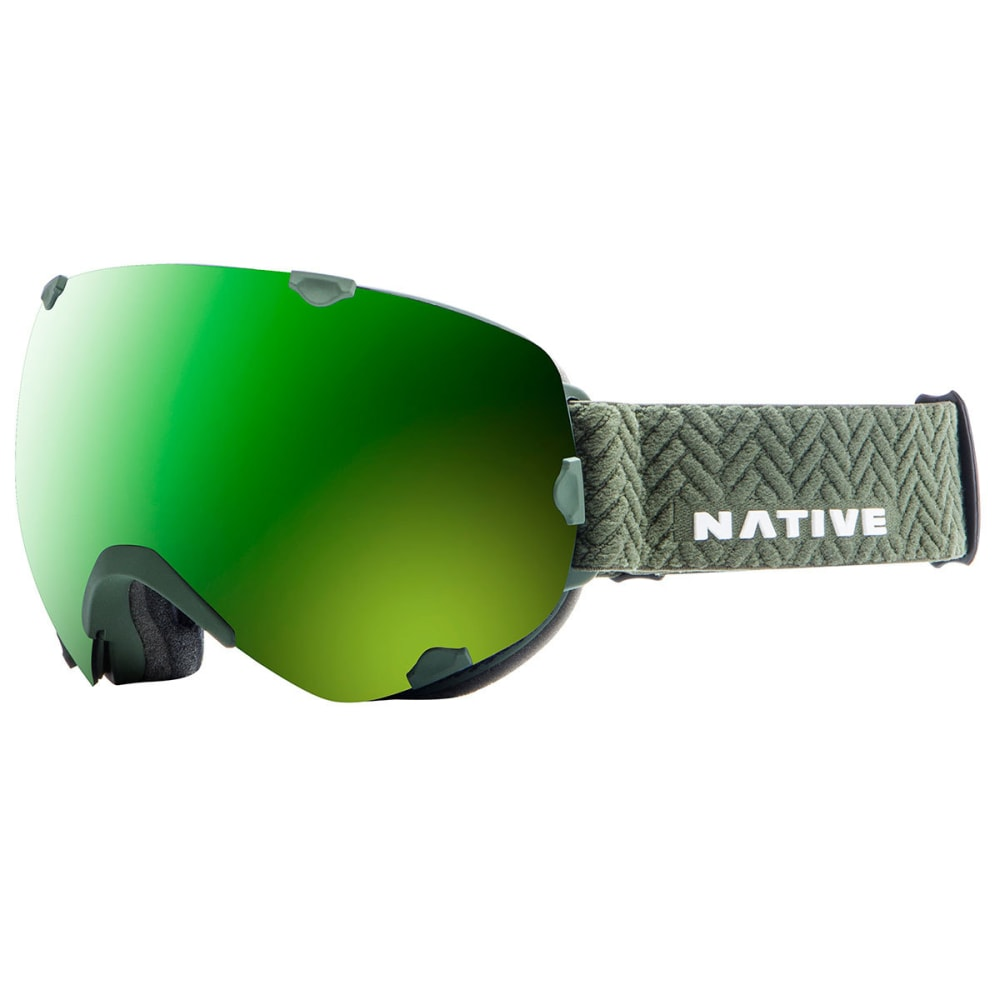 NATIVE EYEWEAR Spindrift Goggles, Army Green/SnowTuned Amber Green ONE SIZE