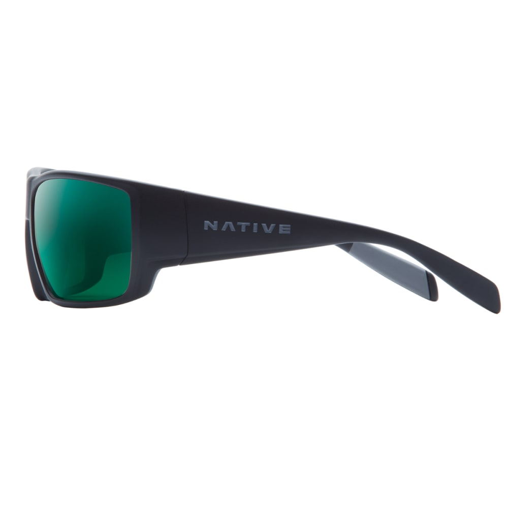 NATIVE EYEWEAR Sightcaster Sunglasses, Matte Black/Green Reflex - MATTE BLACK