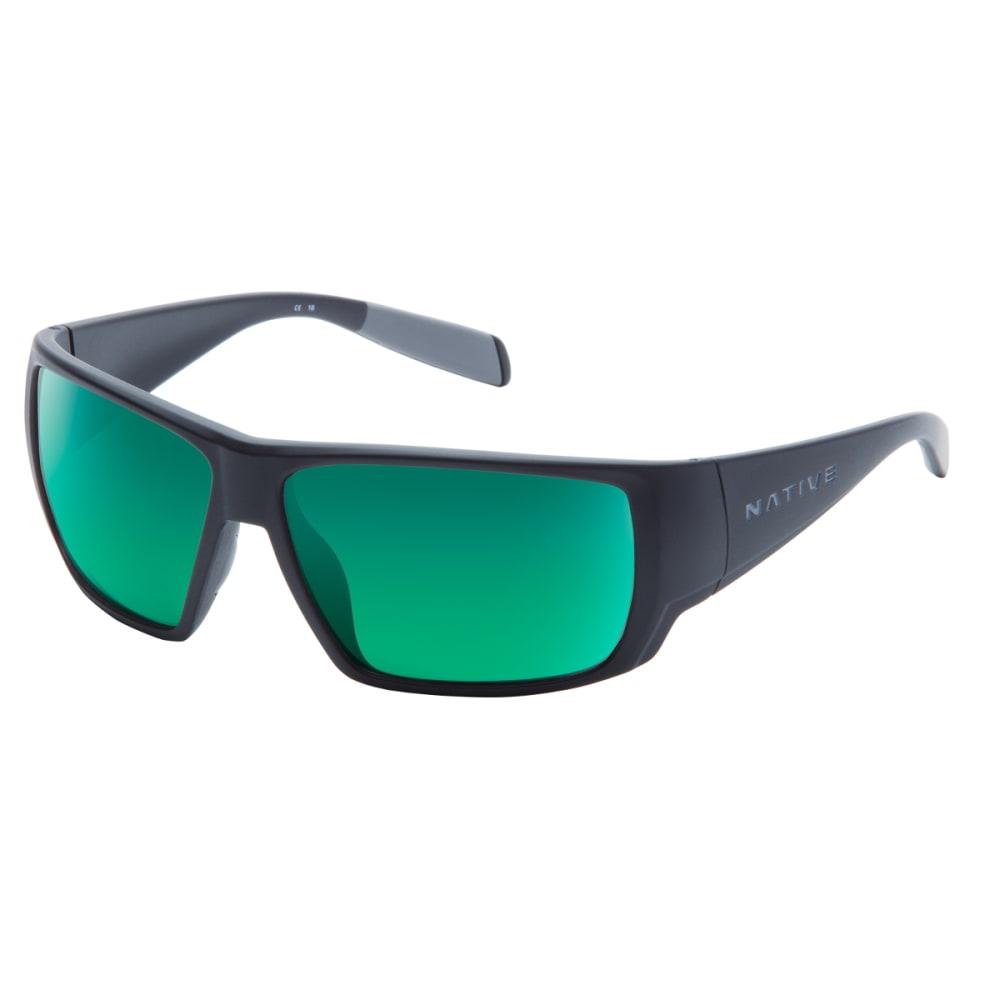 NATIVE EYEWEAR Sightcaster Sunglasses, Matte Black/Green Reflex ONE SIZE
