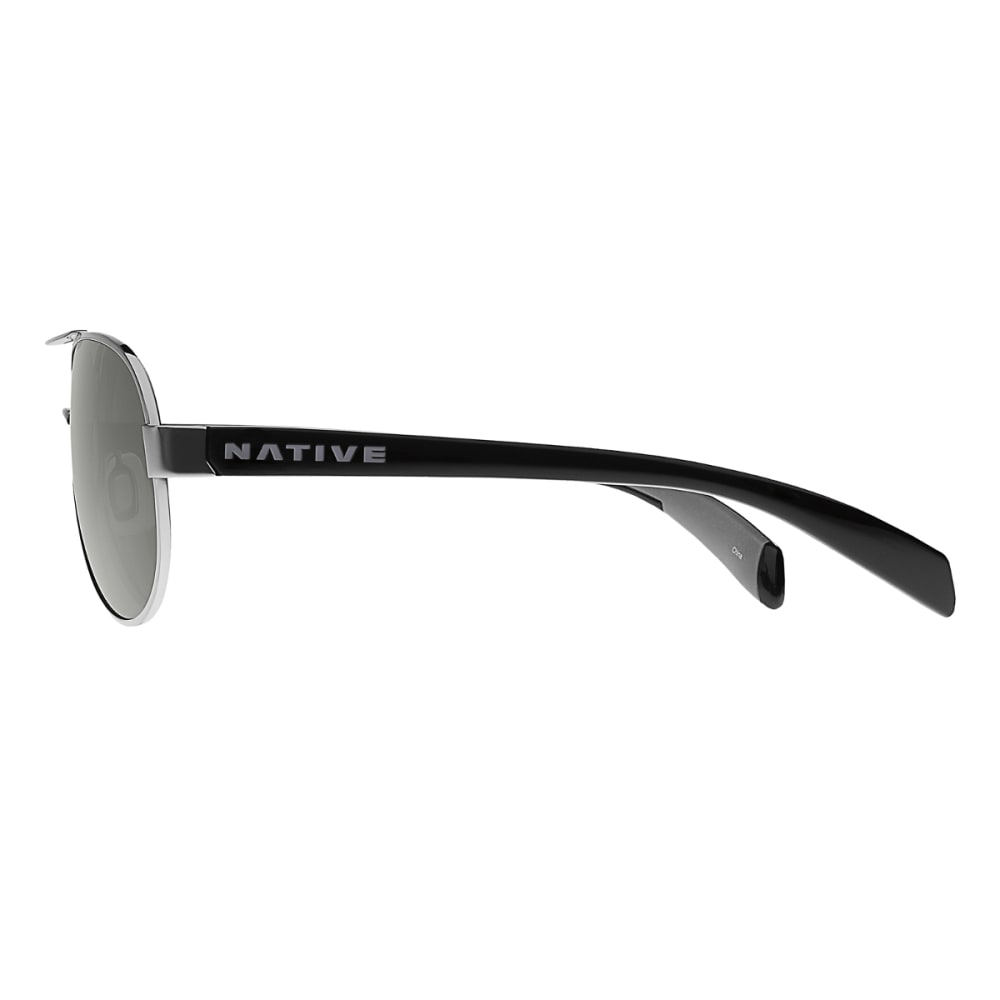 NATIVE EYEWEAR Haskill Sunglasses Chrome / Gloss Black / Gray, Gray - CHROME/BLACK/GRAY