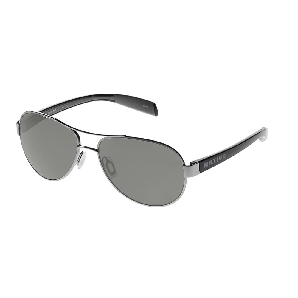NATIVE EYEWEAR Haskill Sunglasses Chrome / Gloss Black / Gray, Gray - CHROME/BLACK/GRAY