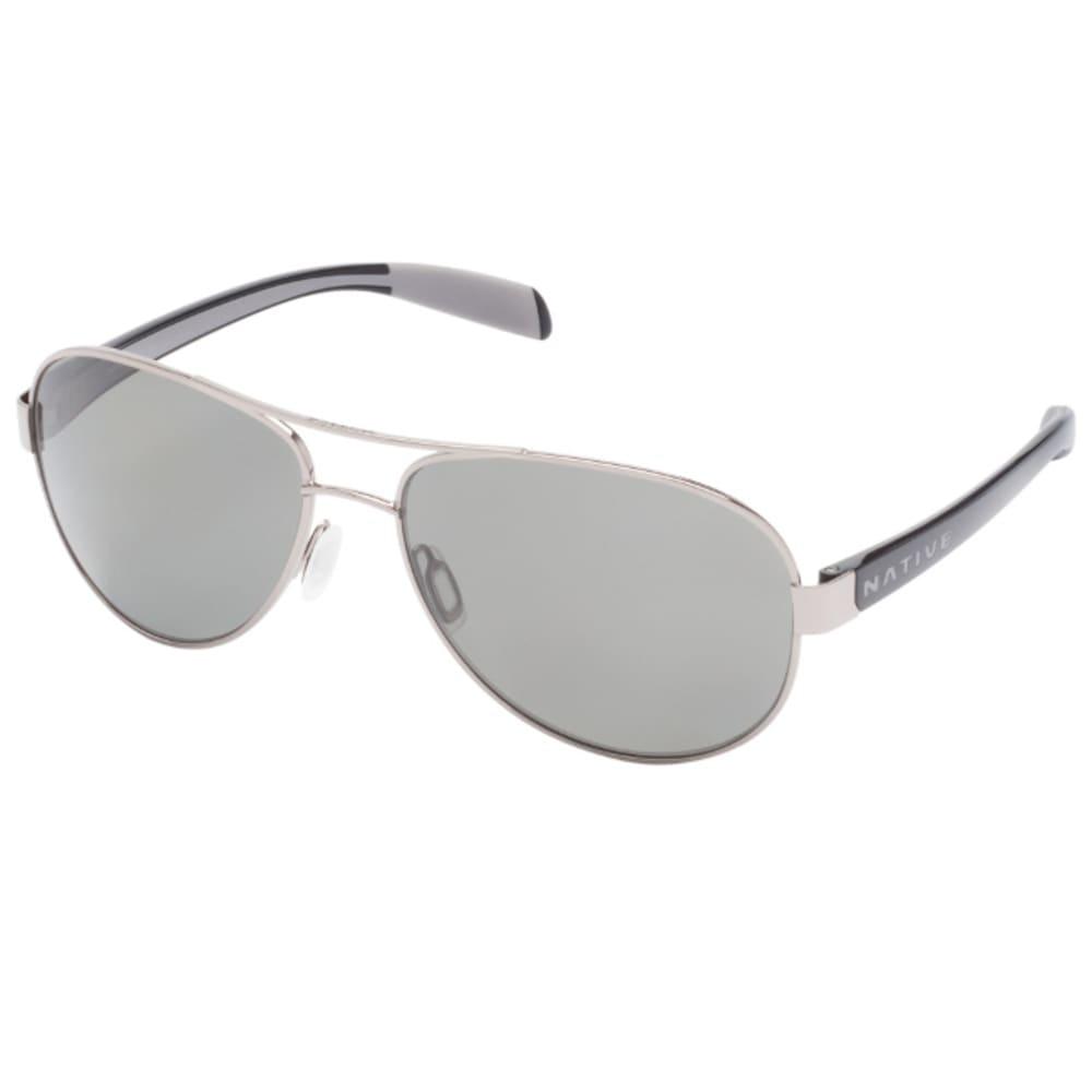 NATIVE EYEWEAR Patroller Sunglasses Chrome / Gloss Black, Gray ONE SIZE